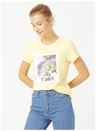 Only Only Sarı Baskılı T-Shirt Sarı